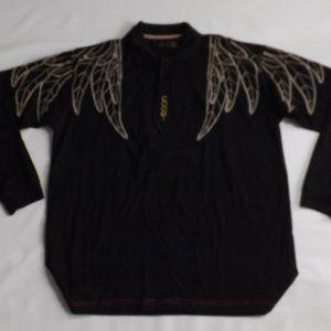 Black COOGI Angel Wing long sleeve polo 2XL